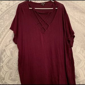 Maroon Cut Out Top